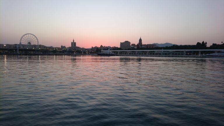 Sunset sur le port de Malaga