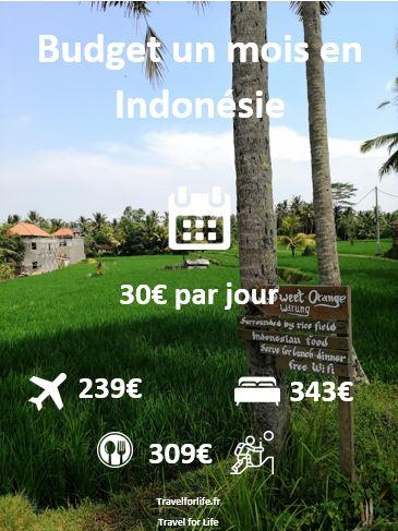 Budget pour un mois en Indonésie
