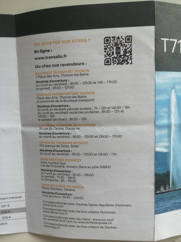 Où acheter un billet de bus Thonon Genève
